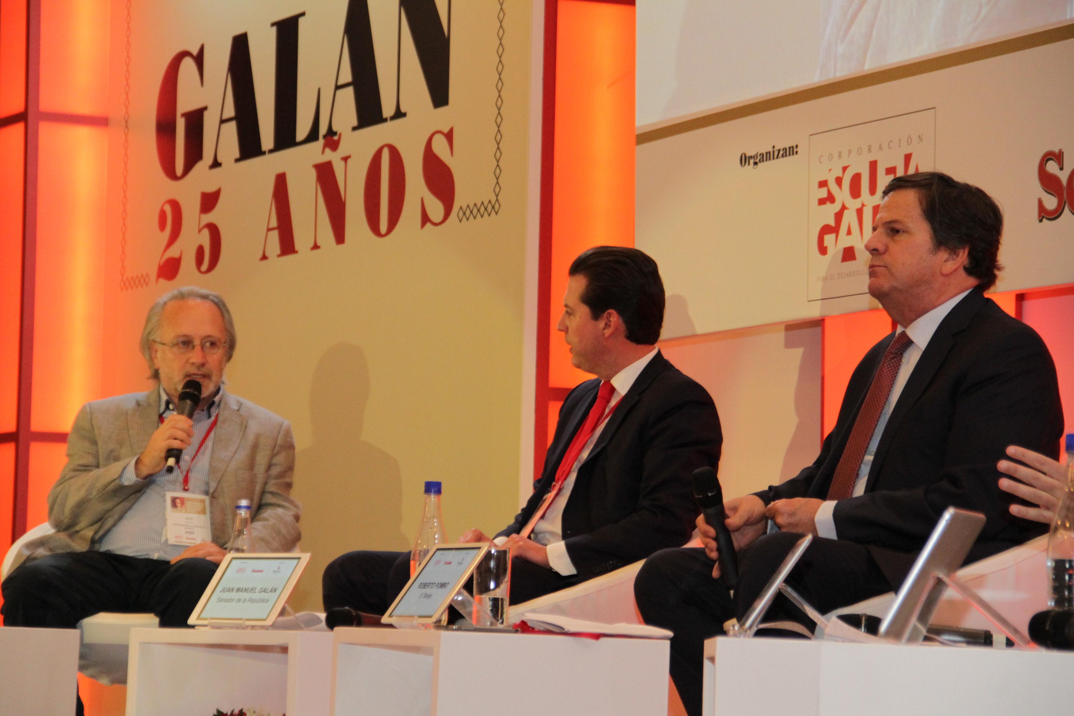 Julio Calzada, Juan Manuel Galán y Roberto Pombo.