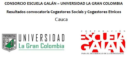 Resultados Convocatoria Cogestores Sociales, Cogestores Étnicos, y Profesional Modelo Étnico Cauca